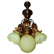 Arts & Crafts Nouveau Brass Fixture Chandelier w/ Vaseline Opalescent Shades