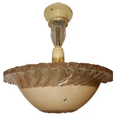 Art Deco Hanging Pendant Fixture w Original Tan Embossed Shade