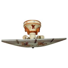 Deco Cowboy Western Shade w Decorated Porcelain Porcelier Fixture