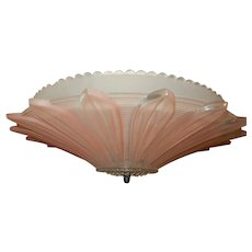 Art Deco Hanging Flush Mount Fixture w Original Pink Embossed Sunflower Shade