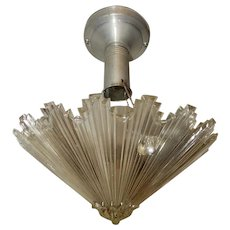 Art Deco Flush Mount Aluminum Ceiling Light Fixtures w Original Starburst Shade