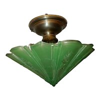 Consolidated Glass Art Deco Shade w Brass Ceiling Fixture