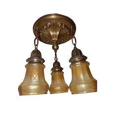 3-Light Art Nouveau Brass Chandelier w Gold Iridized & Etched Shades