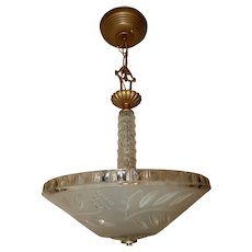 Art Deco Hanging Pendant Fixture w Original Satin Frosted & Embossed Shade