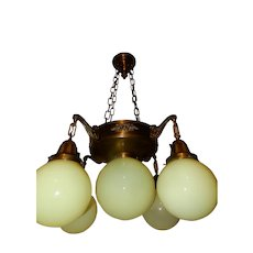 Arts & Crafts Nouveau Brass Fixture Chandelier with Vaseline Opalescent Shades