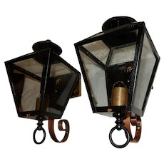 Pr. LARGE Cast Brass & Iron Arts & Crafts Tudor Porch Lights w/ Clear Glass Shades