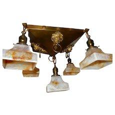 Mission Arts & Crafts Brass Pendant Light Fixture Chandelier w Slag Glass Shades