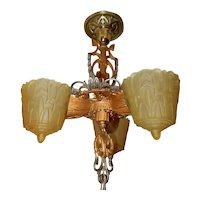 Ca. 1930s Art Deco 3-Light Slip Shade Chandelier