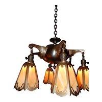 6-Light Art Nouveau Arts & Crafts Brass Chandelier w Reticulated Slag Glass Panel Shades