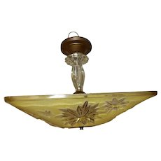 Mid-century Canary Yellow  Glass Square Art Deco Light Fixture Ceiling Chandelier Pendant