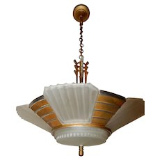 """Streamline""  Art Deco Slip Shade Fixture Chandelier Circa 1935"