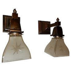 Simple Mission Style Arts and Crafts Sconces With Star Cut Shades