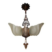 1930s Art Deco Markel Three Light Slip Shade Chandelier Complete