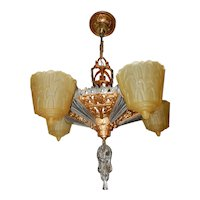 Ca. 1930s Art Deco 5-Light Slip Shade Fixture Chandelier