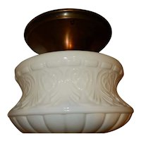Large Milk Glass Art Nouveau Shade on Brass Flush Mount Fixture