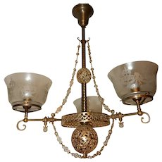 Large Brass Gas Filigree Chandelier Fixture Gilt Finish Etched Shades