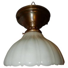 Embossed Milk Glass Shade on Simple Arts & Crafts Brass Ceiling fixture