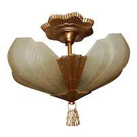 Virden Art Deco 5 - Light Slip Shade Chandelier Fixture