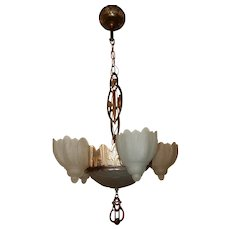 1930s Art Deco Six Light Slip Shade Chandelier Complete
