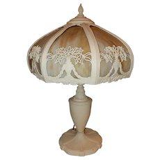 Antique Art Nouveau Slag Glass Panel Table Lamp Original Glass