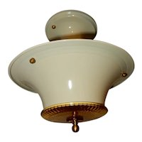 Art Deco Creme Colored Glass Flush Light Fixture Ceiling Chandelier Ca. 1930s