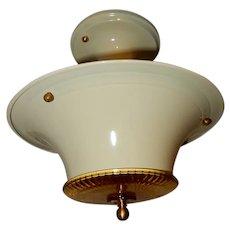 Art Deco Creme Colored Glass Flush Light Fixture Ceiling Chandelier Ca. 1930s