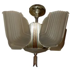 Ca. 1930s Art Deco Streamlined 6 Bulb Slip Shade Chandelier