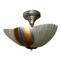 Ca. 1930s Streamlined Art Deco 3-Light Slip Shade Chandelier Flush Mount Fixture