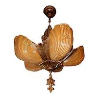 1930s Art Deco Markel Five Light Slip Shade Chandelier Complete