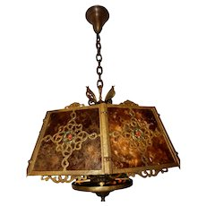 Arts & Crafts  Spanish Revival Hammered Cast Bronze Pendant Hanging Fixture w/ Mica Shade