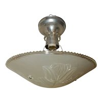 Art Deco Flush Mount Aluminum Ceiling Light Fixtures w Original Lilly Shade