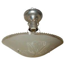 Art Deco Flush Mount Aluminum Ceiling Light Fixtures w Original Lilly Shade