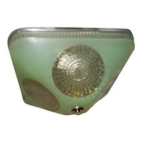 Art Deco Jade Green Square Glass Light Fixture Ceiling Chandelier 1940s-----Pr.