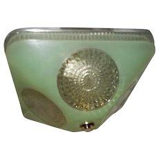 Art Deco Jade Green Square Glass Light Fixture Ceiling Chandelier 1940s-----Pr.