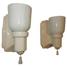 Deco Bungalow Bathroom Porcelain Sconces w/ Original Milk Glass Shades