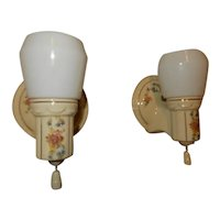 Deco Floral Bathroom Porcelain Sconces w/ Original Milk Glass Shades