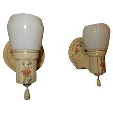 Deco Floral Bathroom Porcelain Sconces w/ Original Milk Glass Shades