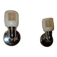 Pr. Bathroom Arts Deco Sconces - Glass Shade on Nickel Chrome Fixtures