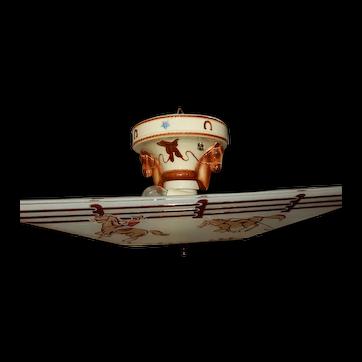Art Deco Porcelier Porcelain Cowboy Fixture w/ Original Art Deco Cowboy Shade