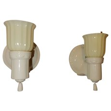 Deco Bungalow Bathroom Porcelain Sconces w/ Original Custard Glass Glass Shades