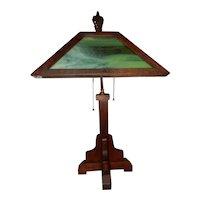 Arts & Crafts Mission Oak Glass Panel Table Lamp Original Glass