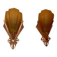 Deco Era Virden Slip Shade Wall Sconces 1920s - 1930s.