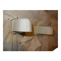Pr. Art Deco Porcelain Streamlined Bathroom Wall Sconces Milk Glass Shades w Pull Chains