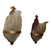 Deco Era Frosted Slip Shade Wall Sconces 1920s - 1930s