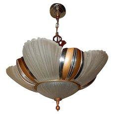 1930s Art Deco Six Light Streamlined Slip Shade Chandelier