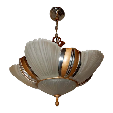 1930s Art Deco Six Light Streamlined Slip Shade Chandelier
