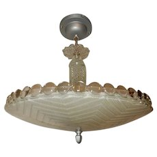 Large frosted glass Art Deco light fixture ceiling chandelier 1930's