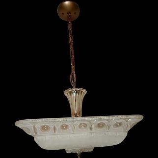 Antique frosted glass Original art deco light fixture ceiling chandelier 1940s
