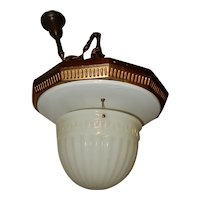 Ca. 1920 LARGE Bank Theatre Pendant fixture w/ Brascolite shade...Bronze Finish