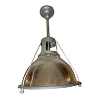 Ca. 1920 LARGE Industrial Holophane Shade on a Silver Pendant fixture